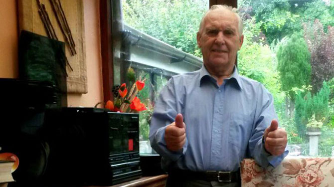 Ted McDermott, 79. with his karaoke set